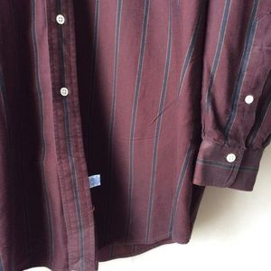 Polo by Ralph Lauren Shirts - RL Polo Maroon Navy Stripe Button Down Crested L